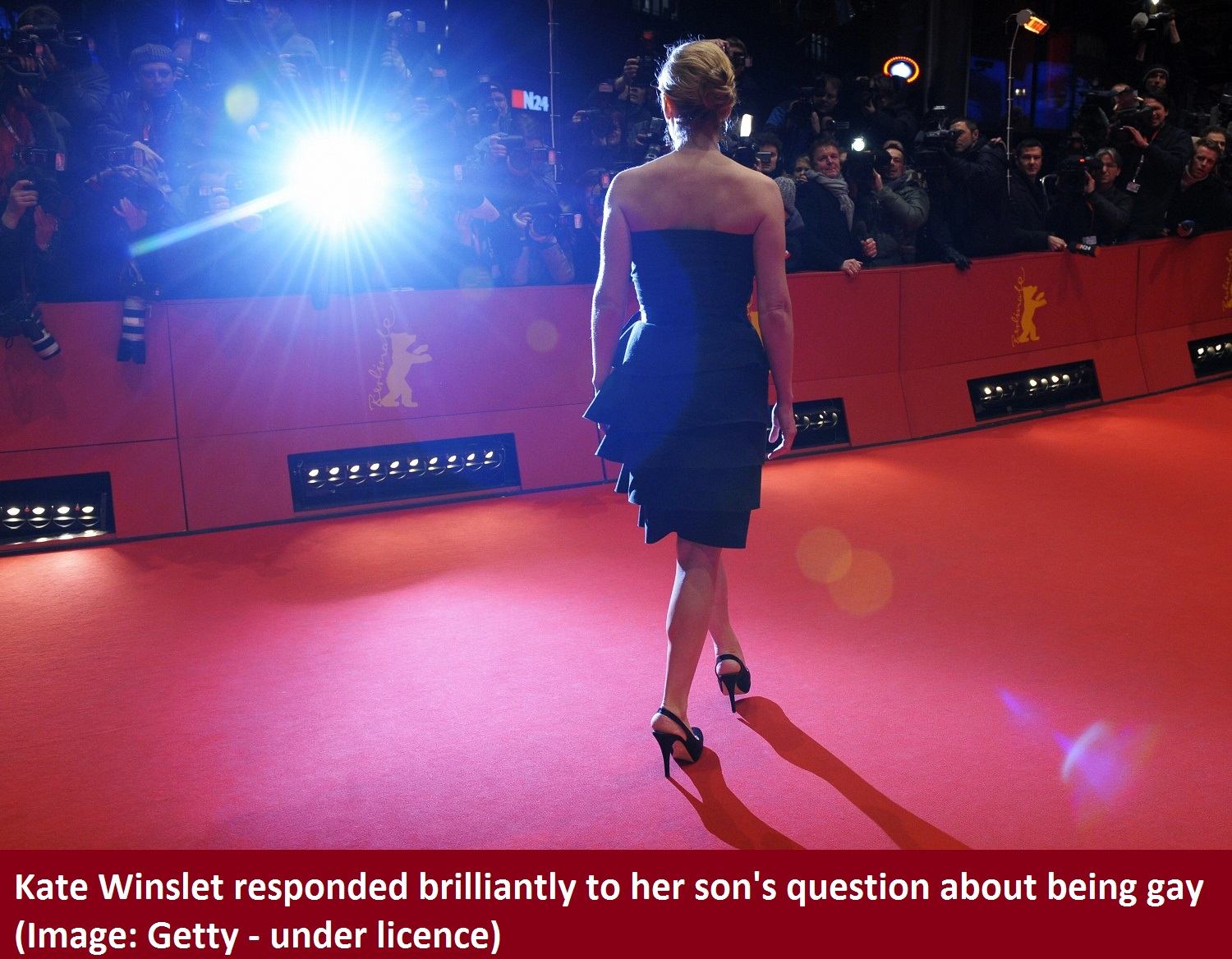 """British actress Kate Winslet poses on the red carpet ahead of the premiere of the film """"The Reader"""" by British director Stephen Daldry and presented out of competition at the 59th Berlinale Film Festival in Berlin February 6, 2009. The Berlinale is taking place from February 5 to 15, 2009 with 18 productions vying for the coveted Golden Bear for best picture to be awarded February 14. AFP PHOTO DDP/MICHAEL GOTTSCHALK GERMANY OUT (Photo credit should read MICHAEL GOTTSCHALK/AFP/Getty Images)"""