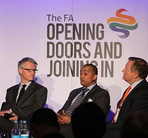 (L-R) Nic Coward of the Premier League, Bobby Barnes of the PFA and Richard Bevan of the LMA (Photo: The FA)