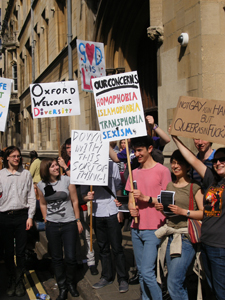 LGBT protesters gathered at Exeter college, Oxford, last week