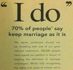 The Coalition for Marriage advert quoted the ComRes poll for Catholic Voices