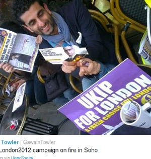UKIP's press officer tweeted the above picture of Brian Paddick's image being burned