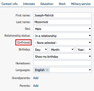 Male users are only given the option of a girlfriend
