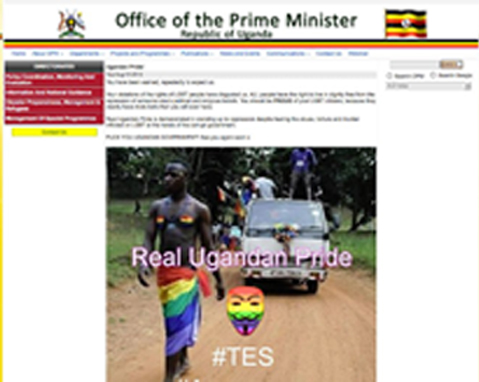 The Ugandan government's websites were hacked