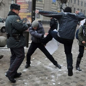 Pro-gay activists were attacked in Russia today