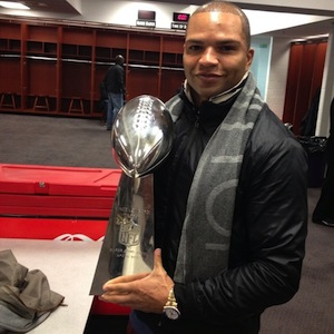 Brendon Ayanbadejo advocates for equal rights and was on the winning team at this year's Super Bowl (Image: Twitter)