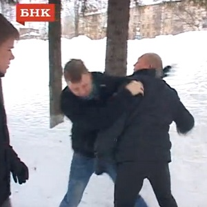 The attack was filmed by journalists present (Image: Youtube)
