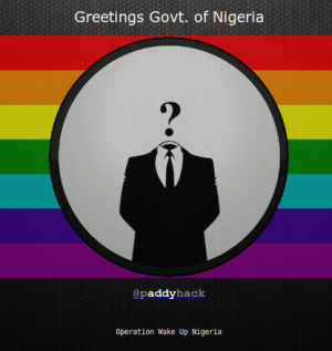 Paddy Hack's message to the Nigerian government: 'Renounce and veto' the anti-gay bill.