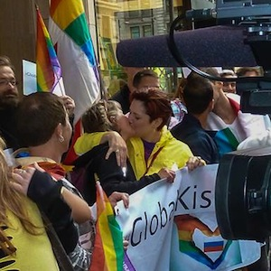 The kiss-in took place outside the Russian consulate in Vancouver