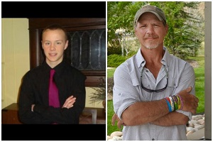 Jadin Bell (L) who took his own life in January, and deceased father Joe Bell