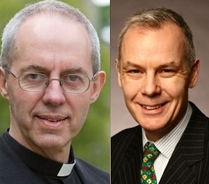 The Archbishop of Canterbury (L) and Stonewall CEO Ben Summerskill (R)