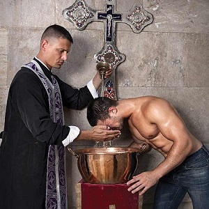 Naked gay priest
