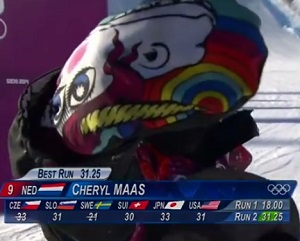 Snowboader Cheryl Maas is the first to make a protest at the games