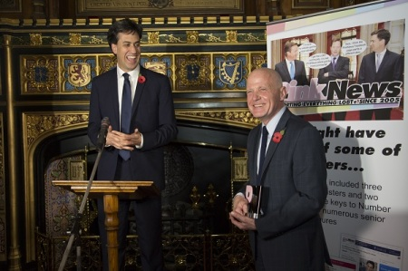 Michael Cashman was honoured by Ed Miliband at the PinkNews Awards in 2014