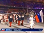 Russian athletes walked out to the music of the 'lesbian-acting' duo.