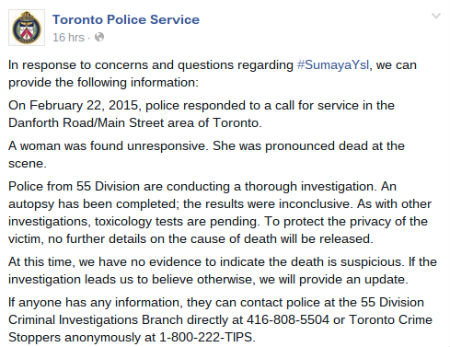 The statement from Toronto Police