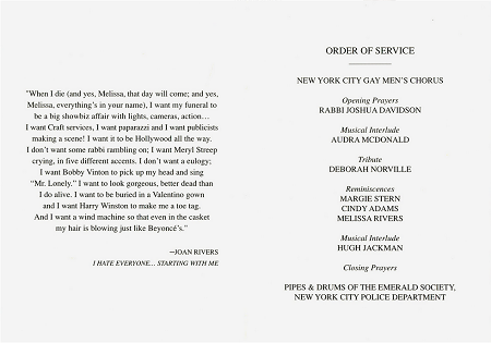 Joan Rivers ORder of Service