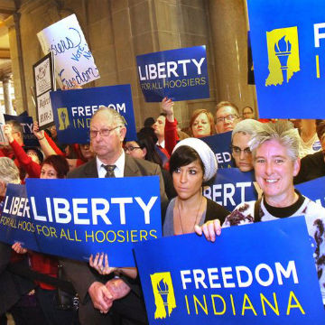 Pro marriage equality Hoosiers anxious for a final verdict regarding marriage equality (image: AP)