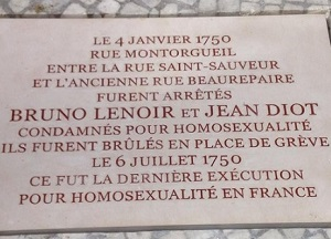 The plaque honours the last people executed for homosexuality