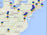 The map shows the locations of gay rights groups