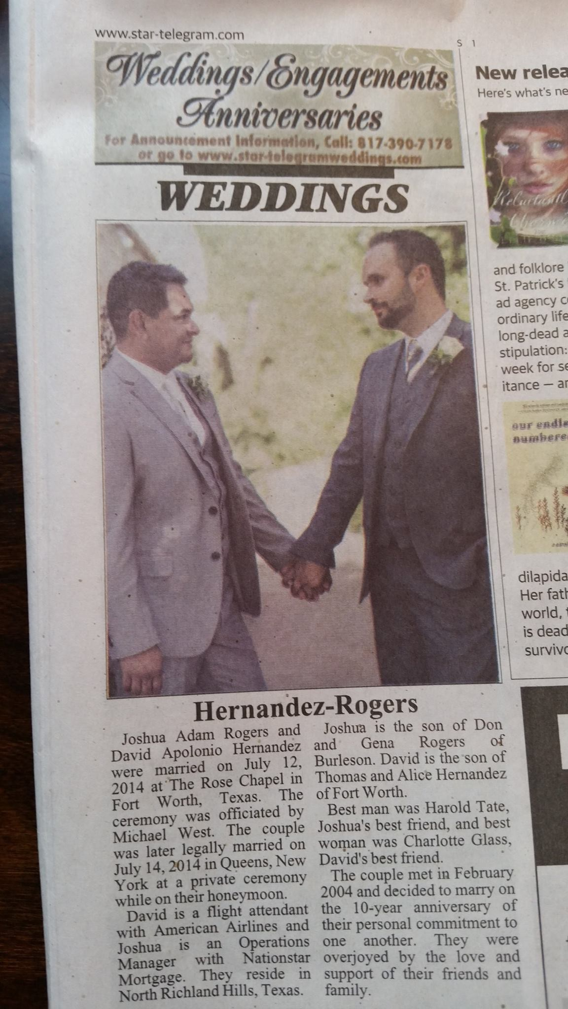 Wedding Announcements Newspaper.Texas Newspaper Prints First Same Sex Wedding Announcement