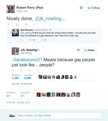 is Harry potters rowling gay dumbledore