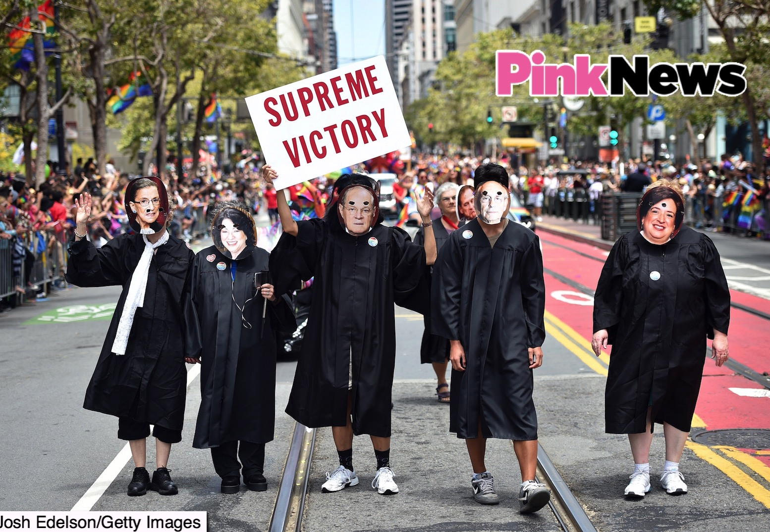 People dressed as United States Supreme Court Justices march along Market Street during the annual Gay Pride parade in San Francisco, California on June 28, 2015, two days after  the US Supreme Court's landmark ruling legalizing same-sex marriage nationwide.    AFP PHOTO / JOSH EDELSON        (Photo credit should read Josh Edelson/AFP/Getty Images)