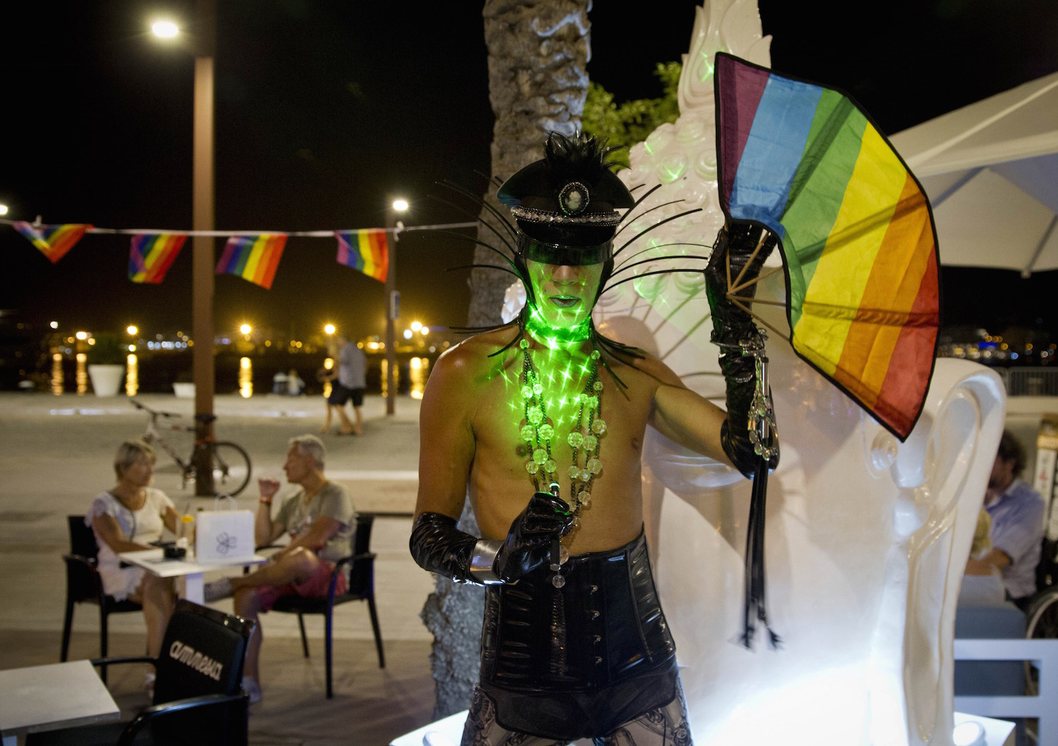 A drag queen poses in a tourist street in the city of Ibiza on July 9, 2015. AFP PHOTO / JAIME REINA        (Photo credit should read JAIME REINA/AFP/Getty Images)