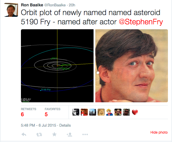 Stephen Fry Tweet Asteroid