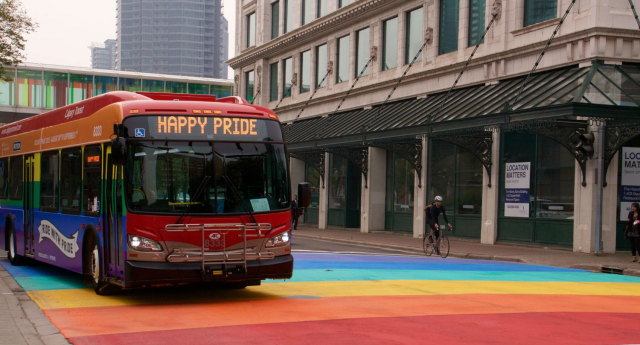 A bus driver would rather quit than drive this rainbow bus