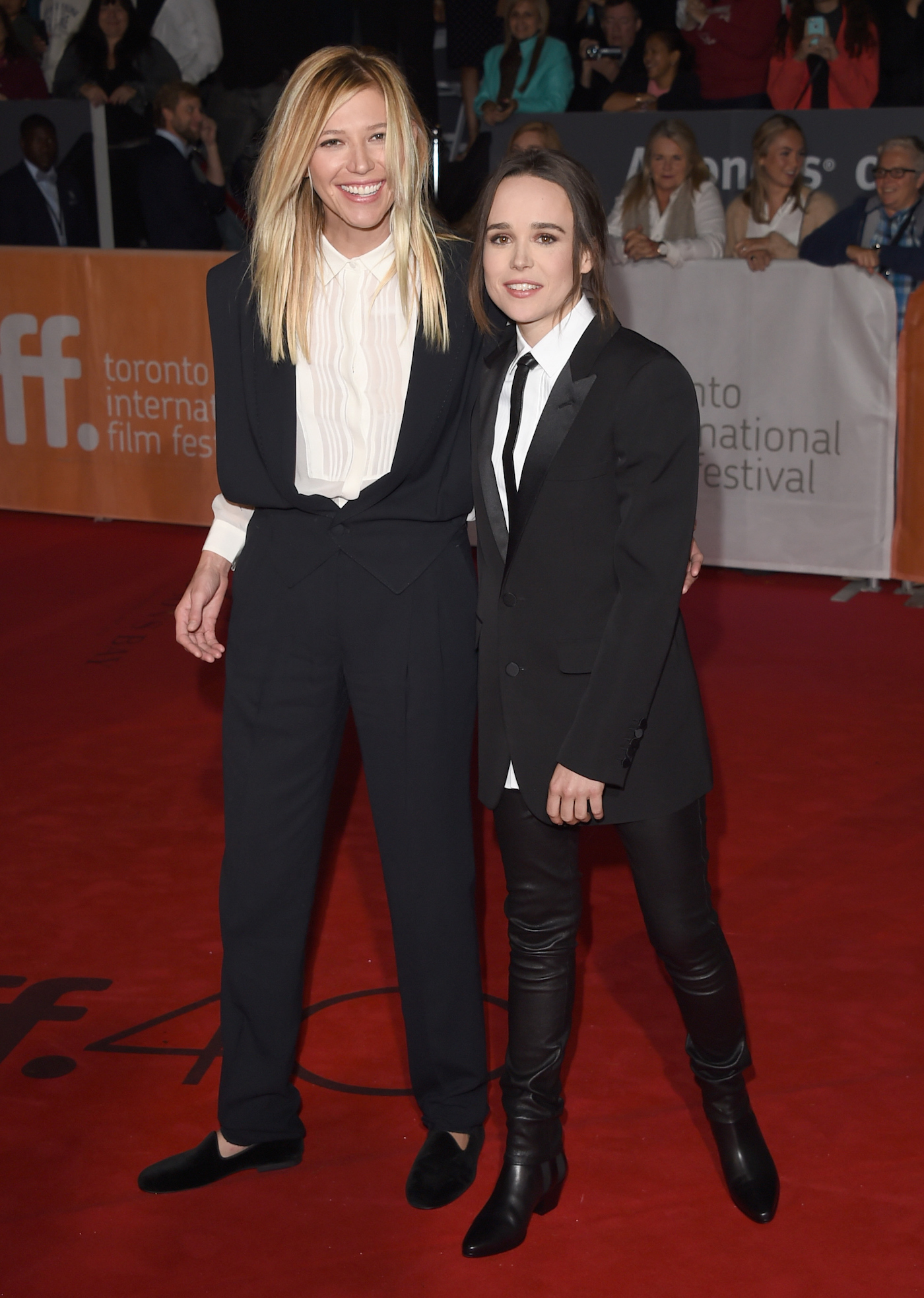 """TORONTO, ON - SEPTEMBER 13: Actress Ellen Page (R) and Samantha Thomas attend the """"Freeheld"""" premiere during the 2015 Toronto International Film Festival at Roy Thomson Hall on September 13, 2015 in Toronto, Canada. (Photo by Jason Merritt/Getty Images)"""