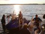 The couple rode up to their wedding on unicorn jet skis