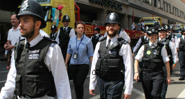Metropolitan Police officers march at Pride in London (Photo: Nick Duffy)