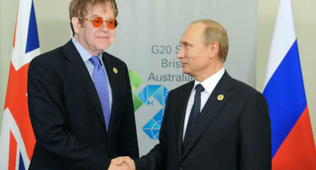 Vladimir Putin actually phoned Sir Elton John (Artist's impression)