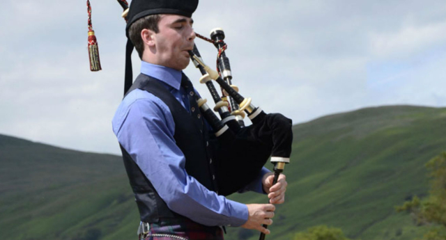 The boy used his bagpipes to silence the preacher (YouTube)
