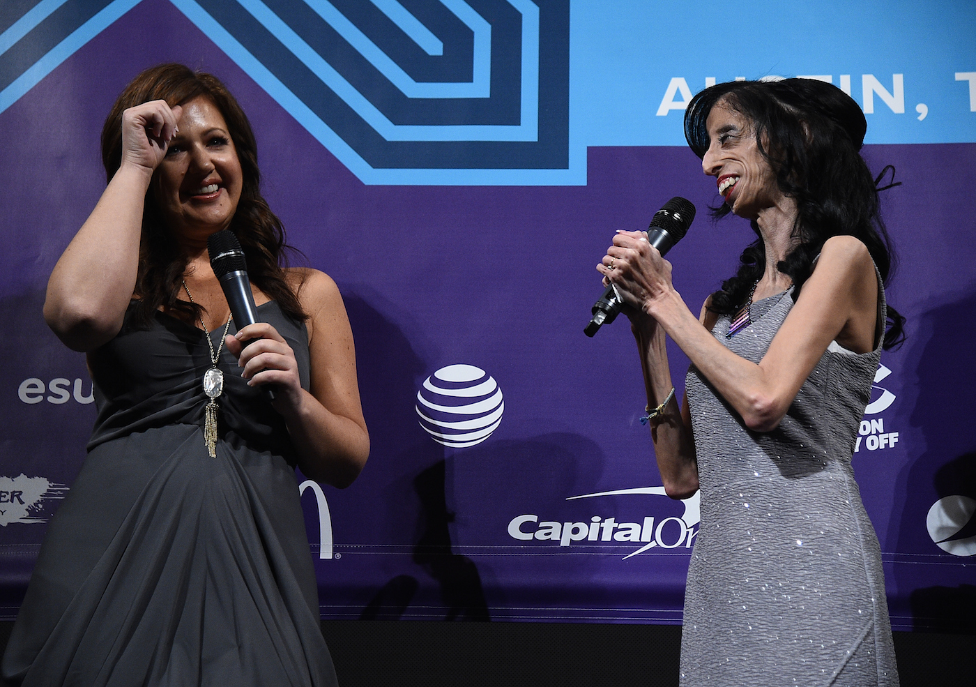 "AUSTIN, TX - MARCH 14: Director Sara Hirsh Bordo (L) and activist Lizzie Velasquez speaks at the premiere of ""A Brave Heart: The Lizzie Velasquez Story"" at Paramount Theatre on March 14, 2015 in Austin, Texas. (Photo by Michael Buckner/Getty Images for SXSW)"