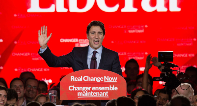 Justin Trudeau said that Canadians had voted for real change (NICHOLAS KAMM/AFP/Getty Images