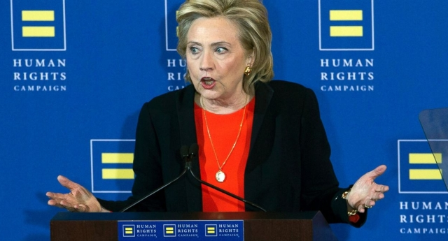 Hillary Clinton has promised to defend LGBT rights in a powerful speech (Getty)