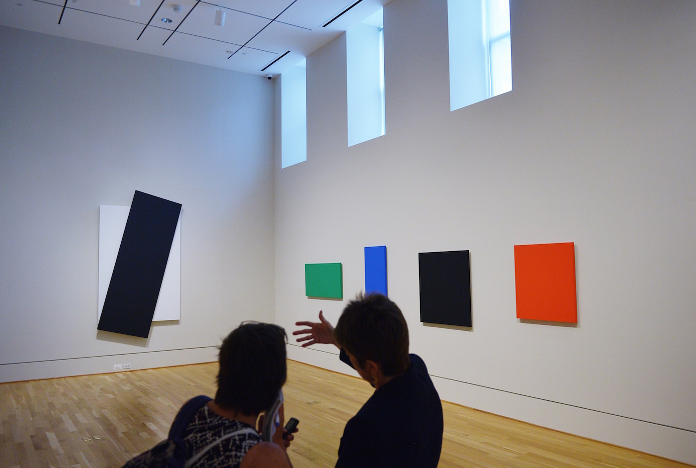 "Paintings by artist Ellsworth Kelly are seen during an exhibition preview on June 19, 2013 at The Phillips Collection in Washington, DC. The exhibition, ""Ellsworth Kelly: Panel Paintings 20042009"" will be on display from June 22September 22, 2013. AFP PHOTO/Mandel NGAN (Photo credit should read MANDEL NGAN/AFP/Getty Images)"