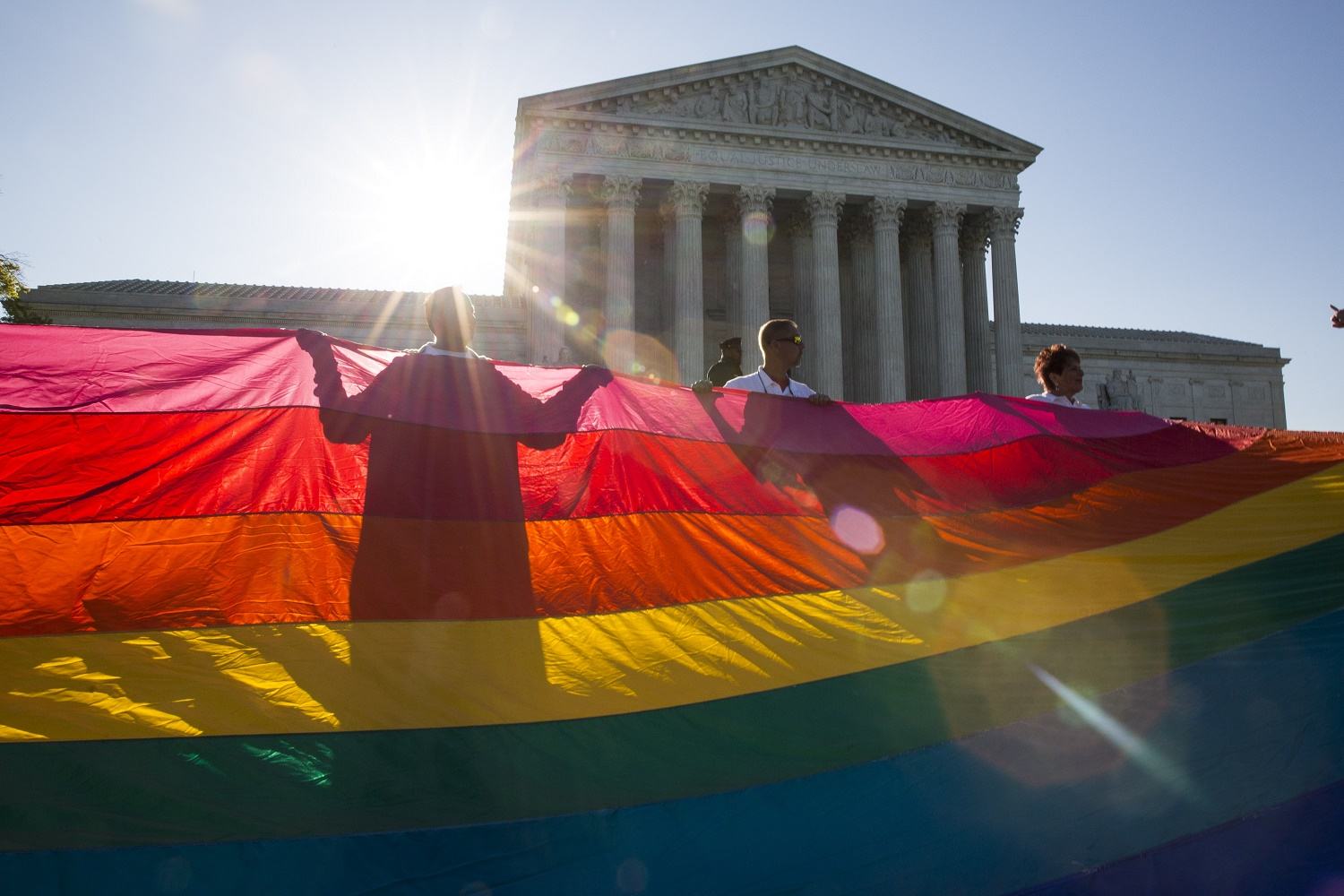 WASHINGTON, DC - APRIL 28: Supporters and opponents of same-sex marriage demonstrate near the Supreme Court, April 28, 2015 in Washington, DC. On Tuesday the Supreme Court will hear arguments concerning whether same-sex marriage is a constitutional right, with decisions expected in June. (Drew Angerer/Getty Images)