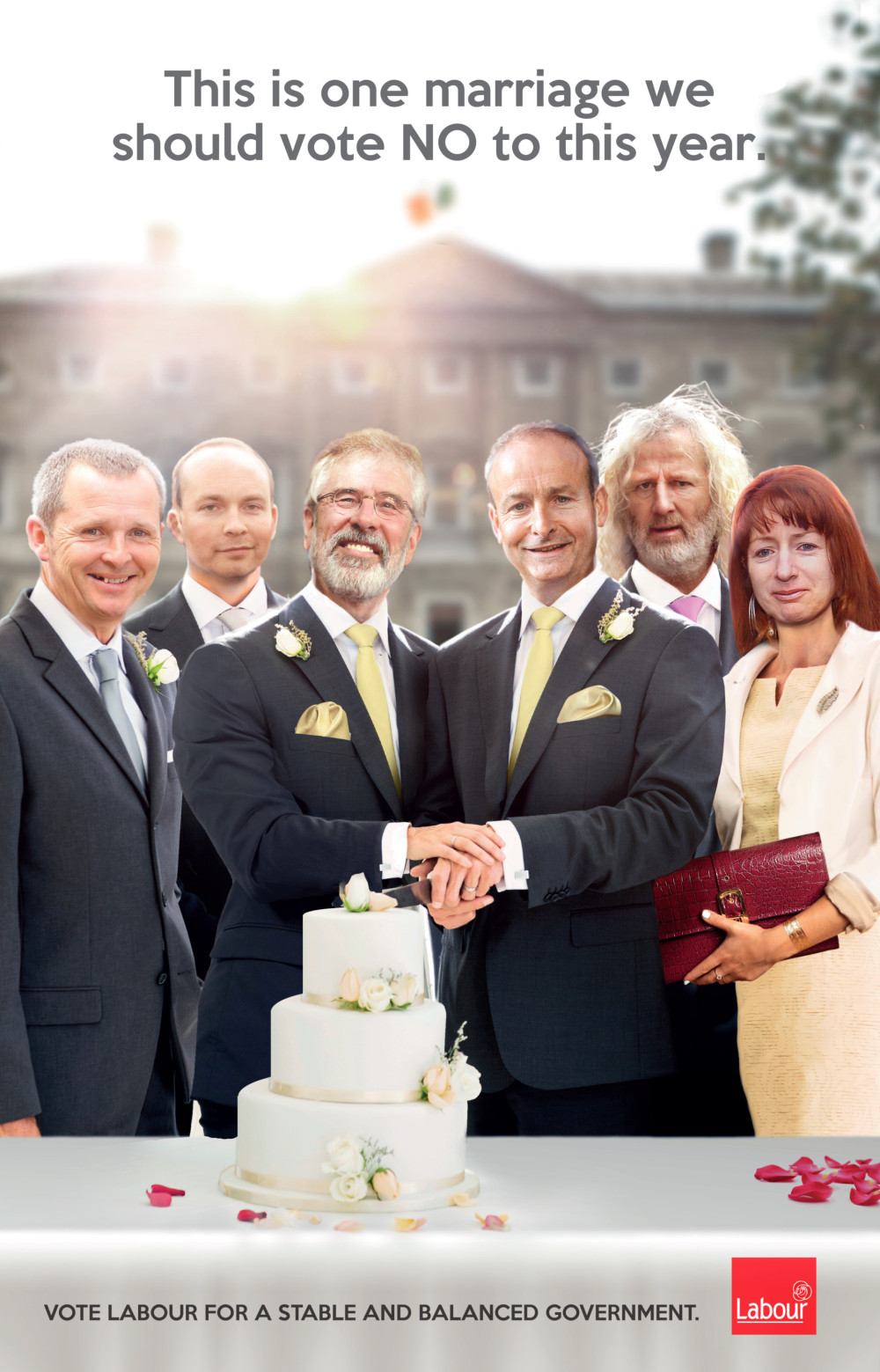 The poster has been derided for featuring potential coalition partners as a gay couple