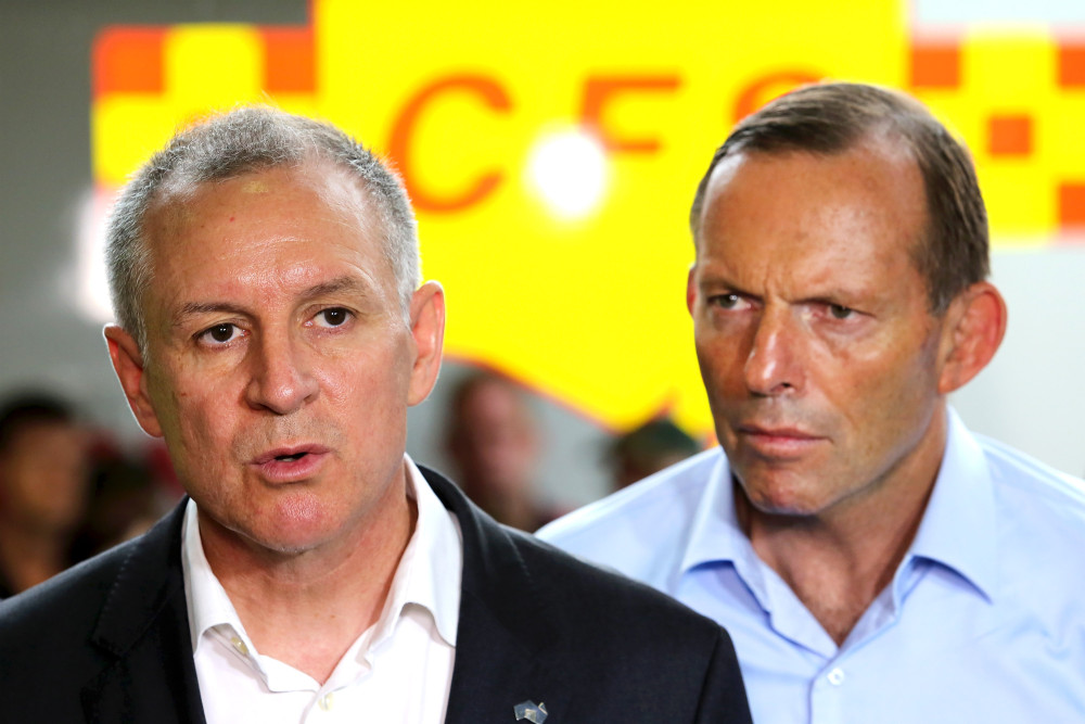 ADELAIDE, AUSTRALIA - JANUARY 08: Australian Prime Minister, Tony Abbott (R) and South Australia Premier Jay Weatherill are pictured during a press conference on January 8, 2015 in Adelaide, Australia. Prime Minister Abbott announced victims of the South Australian bush fires will receive federal assistance during a tour to the bushfire zone.Ê (Photo by Daniel Kalisz/Getty Images)