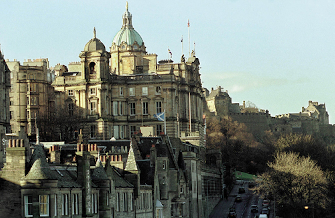 The headquarters of the Bank of Scotland on The Mound, Edinburgh, photographed from North Bridge toward the Castle (right). Photograph: Graham Barclay/bwp media.