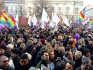 Protesters in Milan today in favour of legalising same-sex civil unions