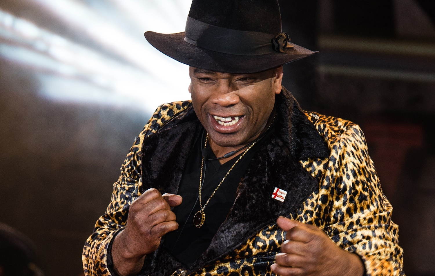 BOREHAMWOOD, ENGLAND - JANUARY 05: Winston McKenzie enters the Celebrity Big Brother House at Elstree Studios on January 5, 2016 in Borehamwood, England. (Photo by Jeff Spicer/Getty Images)