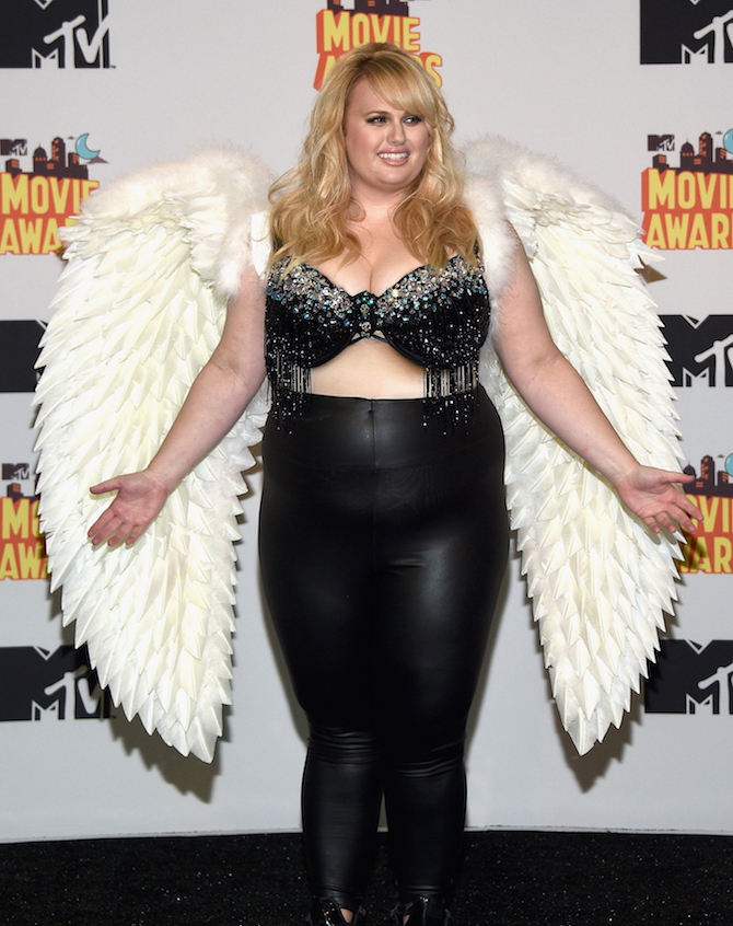 LOS ANGELES, CA - APRIL 12: Actress Rebel Wilson poses in the press room during The 2015 MTV Movie Awards at Nokia Theatre L.A. Live on April 12, 2015 in Los Angeles, California. (Photo by Michael Buckner/Getty Images)