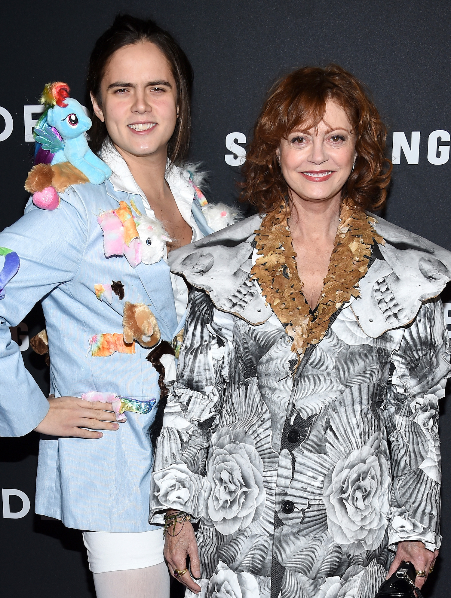 """NEW YORK, NY - FEBRUARY 09: Actors Miles Robbins (L) and Susan Sarandon attends the """"Zoolander 2"""" World Premiere at Alice Tully Hall on February 9, 2016 in New York City. (Photo by Dimitrios Kambouris/Getty Images)"""