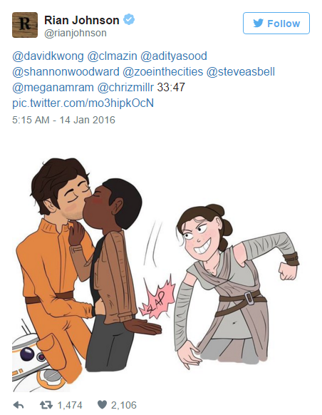 Fan art of Finn/Poe kissing and Rey high-five