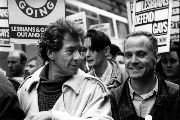 Michael Cashman and Ian McKellen on an early gay rights march