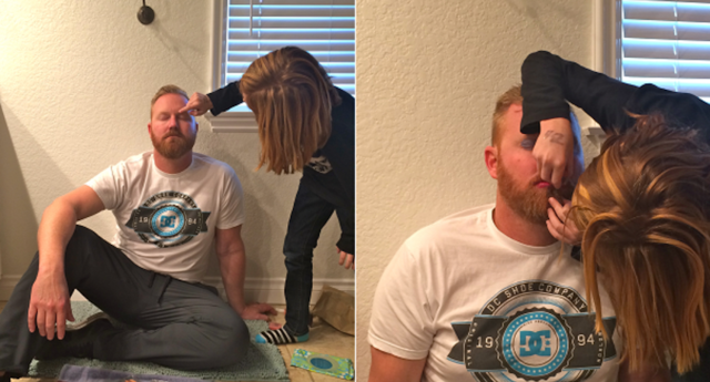 He has the best reason for letting his son do his makeup