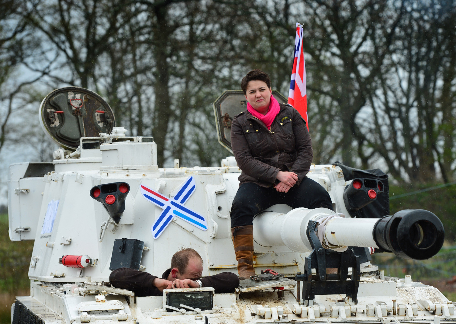 Ruth Davidson on a tank (Getty Images)